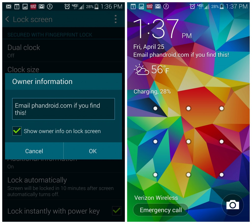 (Photo: Phandroid) Many Android phones allow you to add a custom owner message to your lock screen